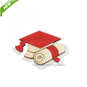 Magnete Tocco Rosso con pergamena in legno 3.5 cm - Bomboniera laurea