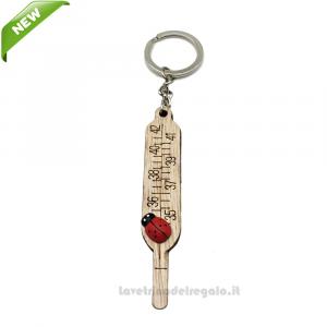 Portachiavi Termometro in legno 8 cm - Bomboniera laurea