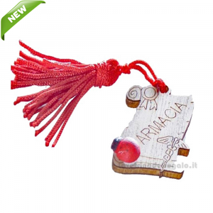 Magnete Pergamena Farmacia con nappina Rossa e coccinella in legno 3.5 cm - Bomboniera laurea