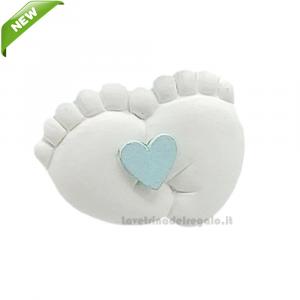Magnete Piedini con cuore Celeste in gesso 3 cm - Bomboniera battesimo bimbo