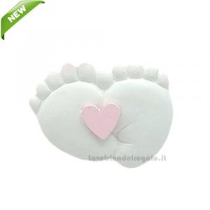 Magnete Piedini con cuore Rosa in gesso 3 cm - Bomboniera battesimo bimba