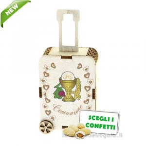 Portaconfetti Valigia Trolley Comunione in legno 5.5x12 cm - Scatole comunione