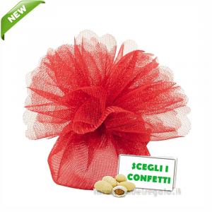 Portaconfetti Colore Rosso doppio velo con tirante in organza 25 cm - Veli bomboniere