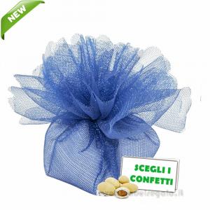 Portaconfetti Colore Blu doppio velo con tirante in organza 25 cm - Veli bomboniere