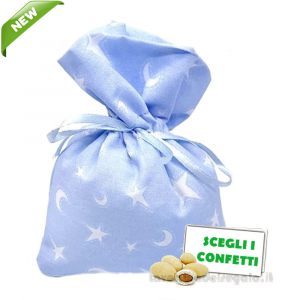 Portaconfetti Celeste con Stella e Luna 10x13 cm - Sacchetti battesimo bimbo