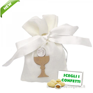 Portaconfetti Avorio con Calice 9x12 cm - Sacchetti comunione