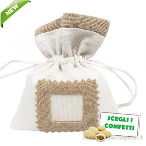 Portaconfetti Bianco con tasca per tag 10x12 cm - Sacchetti comunione e matrimonio