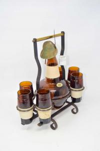 Set Grappa Alpino Marrone Bottiglia + 6 Bicchieri E Supporto In Ferro