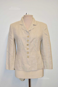 Giacca Donna Beige Armorica Tg 42 Lino