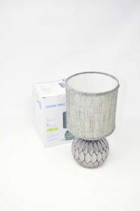 Lampada Da Scrivania / Comodino Con Base In Ceramica Grigia