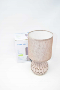 Lampada Da Scrivania / Comodino Con Base In Ceramica Beige