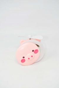 Mini Specchio E Ventilatore Per Borsa Rosa Maialino