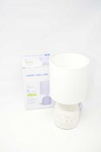 Lampada Da Scrivania / Comodino Con Base In Ceramica Bianca