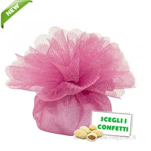 Portaconfetti Colore Fucsia doppio velo con tirante in organza 25 cm - Veli bomboniere