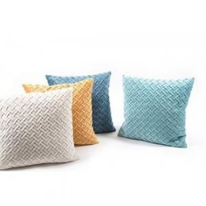 Cuscino In Velluto Intrecciato 45x45 cm Colori Pastello Disponibili Assortiti Tessuto Ricamato Ideale per Divano e Letto Casa Arredo