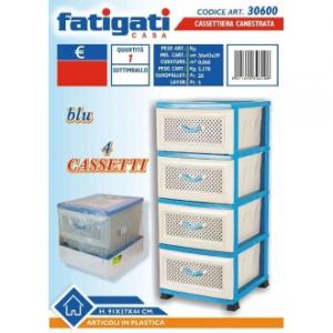Cassettiera Multifunzione In Plastica Colore Blu e Beige Canestrata 4 Cassetti Con Manico Casa