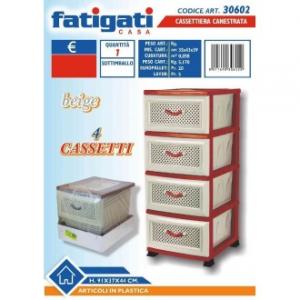 Cassettiera Multifunzione In Plastica Colore Rosso e Beige Canestrata 4 Cassetti Con Manico Casa