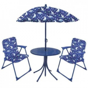 Set Tavolino Con Ombrellone e Due Sedie Colorato Blu Mini Per Bambine e Bambini Giardino Casa Estate Decorato
