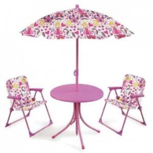 Set Tavolino Con Ombrellone e Due Sedie Mini Per Bambine e Bambini Giardino Casa Estate Decorato