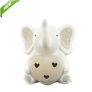 Elefantino Tortora con cuore e luce LED in porcellana 10x10x12 cm - Bomboniera battesimo e comunione