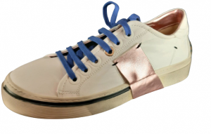 Sneakers donna| pelle bianca | banda laminata rosa | Made in Italy