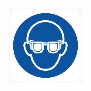 Cartello pittogramma obbligo uso occhiali M004