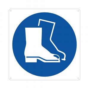 Cartello pittogramma obbligo uso calzature di sicurezza M008