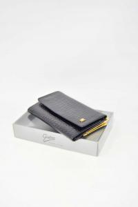 Portafoglio Gaber Nero In Vera Pelle Vernice Made In Thailand 14 X 9.5 Cm