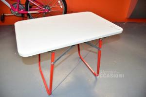 Tavolino Per Bambini Pieghevole Con Gambe Rosse In Ferro