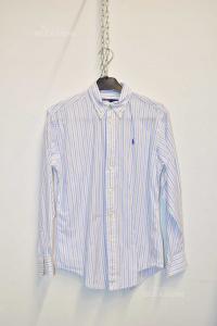Camicia Ragazzo Polo Ralph Lauren Righe Azzurre Bianche Tg.14 Anni