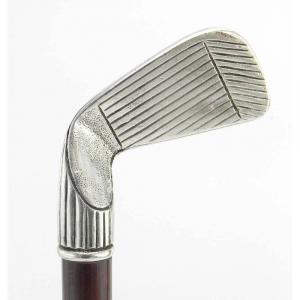 Bastone da passeggio in legno e peltro impugnatura mazza da golf