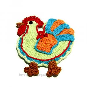 Presina gallo colorata ad uncinetto 16x14,5 cm Handmade - Italy