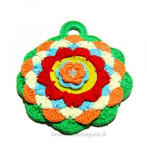 Presina rotonda colorata ad uncinetto 16,5x14,5 cm Handmade - Italy