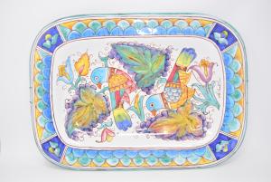 Piatto Decorativo Ceramica Di Gubbio Con Pappagalli 37 X 52 Cm