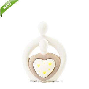 Sposi con luce LED in porcellana 9x4.5x12 cm - Bomboniera matrimonio