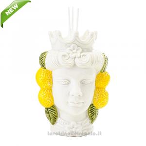 Profumatore Testa di Moro donna con limoni in porcellana 11x10x15 cm - Bomboniera matrimonio