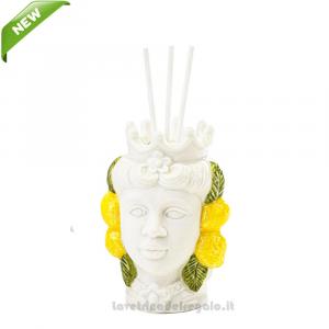 Profumatore Testa di Moro donna con limoni in porcellana 6x5.5x10 cm - Bomboniera matrimonio