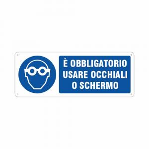 Cartello Obbligatorio usare gli occhiali