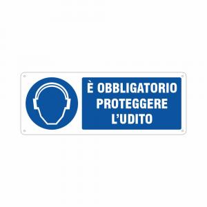 Cartello Obbligatorio proteggere l'udito