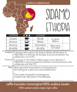 Caffè monorigine in cialda Etiopia Sidamo, confezioni da n. 50 e 200 cialde in carta ese 44 mm