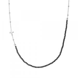 Collana Argento e cristalli neri Amen
