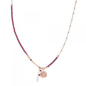 Collana Argento cristalli rossi e perla di fiume Amen