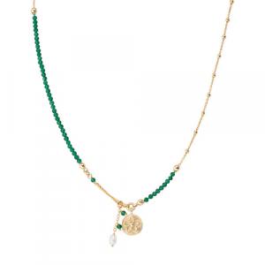 Collana Argento cristalli verdi e perla di fiume Amen