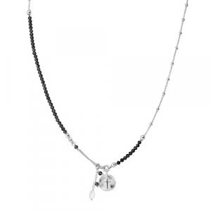 Collana Argento cristalli neri e perla di fiume Amen