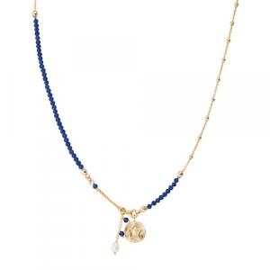 Collana Argento cristalli blu e perla di fiume Amen