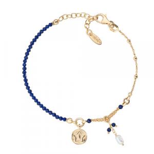 Bracciale Argento cristalli blu e perla di fiume Amen