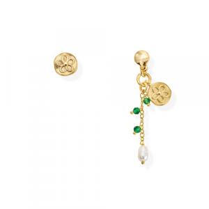 Orecchini Argento cristalli verdi e perla di fiume Amen