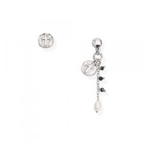 Orecchini Argento cristalli neri e perla di fiume Amen