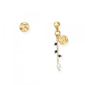 Orecchini Argento cristalli blu e perla di fiume Amen
