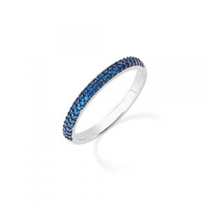 Anello Argento e zirconi blu Amen
